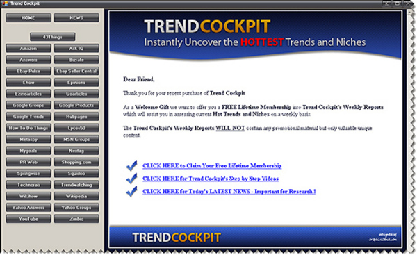 Product picture Trend Cockpit Instantly Uncover the Hottest Trends and Niches With Resale Rights